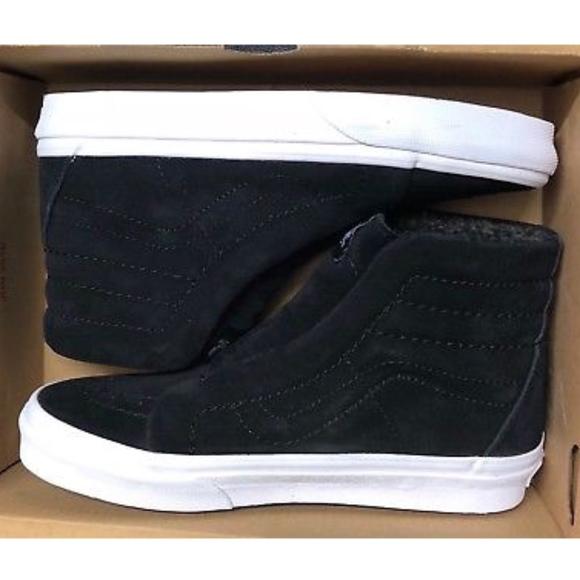 fd71b103912e9a Vans Sk8 Hi Reissue Suede Fleece Black Shoes